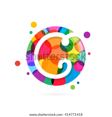 C letter logo in circle with rainbow dots. Font style, vector design template elements for your application or corporate identity. - stock vector