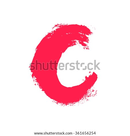 C letter painted with a dry brush. Real hand drawn font. Vector grunge style design elements for use in posters or prints.