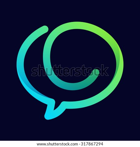 C letter with speech bubble line logo. Abstract trendy letter multicolored vector design template elements for your application or corporate identity. - stock vector