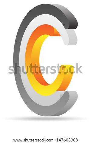 C sign - stock vector