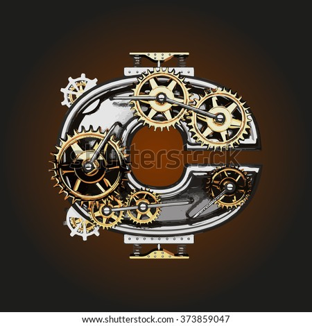 c vector letter with gears