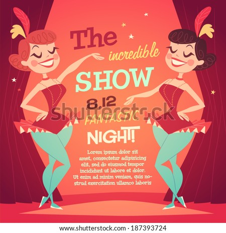 Cabaret Ladies poster. Vector illustration. - stock vector