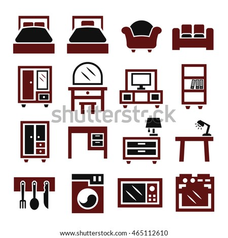 Living room objects furniture and equipment vector illustration - Set Home Furniture Symbols Vector Stock Vector 150949538