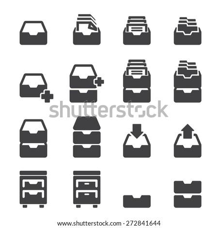 cabinet icon set - stock vector