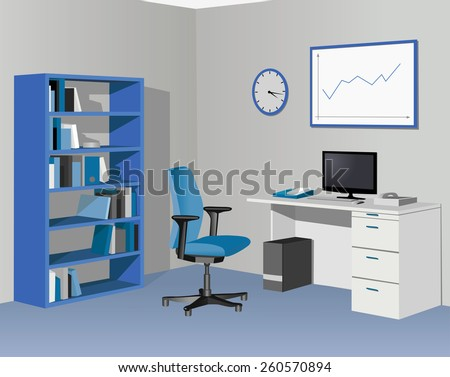 Cabinet office in blue. Vector illustration - stock vector