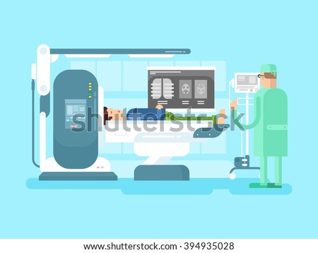 Cabinet with an MRI device - stock vector