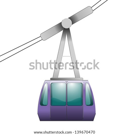 Cable-car on ropeway - double-door passenger cabin, great for clipart or icon creation - stock vector