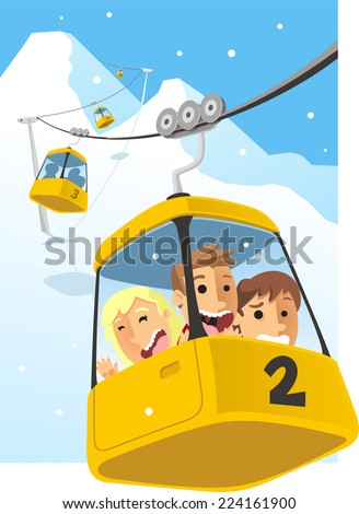 Cable car Telesferic Telecabin Gondola Cabin Ski Lift Vector Illustration. - stock vector