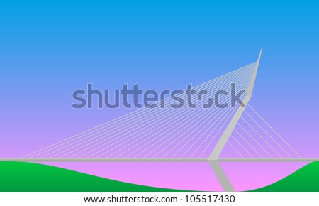 cable-stayed bridge - stock vector
