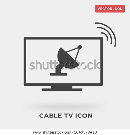 Cable Tv Icon On Grey Background Stock Vector 1049379410 Shutterstock