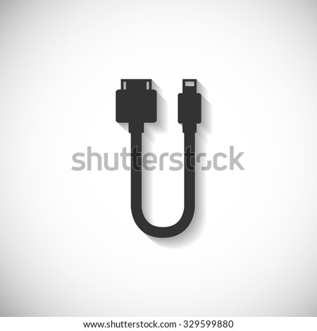 Cable  USB Charger Phone Silhouette Computer Icon , Long Shadow - stock vector