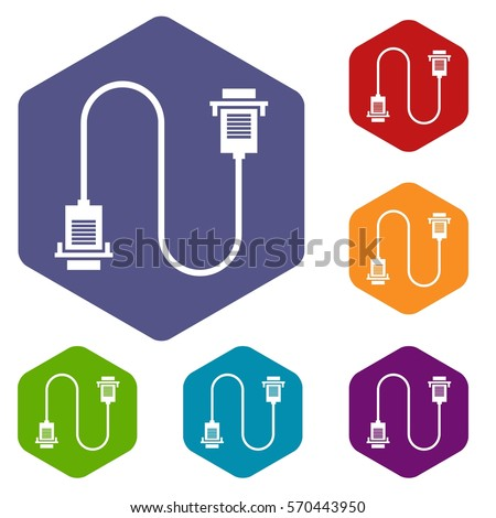 network cables stock images royalty images vectors cable wire computer icons set rhombus in different colors isolated on white background