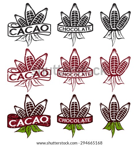 cacao beans with leaves grunge labels set - stock vector
