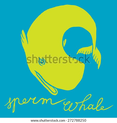 Cachalot or sperm whale - sketch doodle line art - stock vector