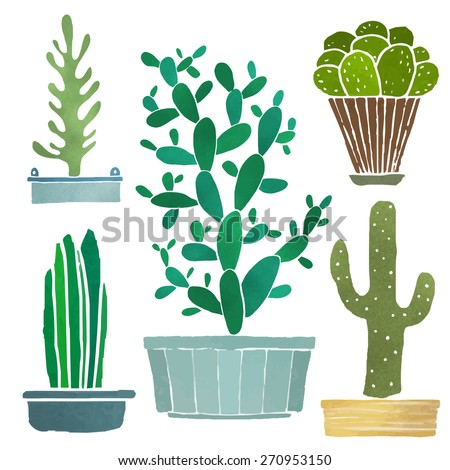 Cacti set, succulents, home flowers, houseplants in pots isolated on white background - stock vector