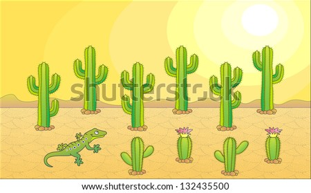 Cactus and lizard. Desert theme. Vector illustration. - stock vector