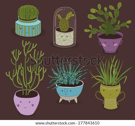 Cactus And Succulent Plants Growing In Cute Pots - stock vector