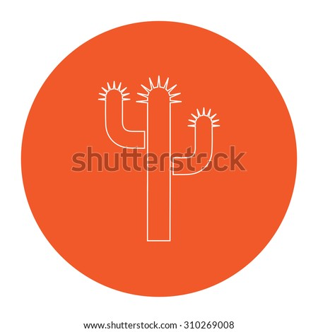 Cactus. Flat outline white pictogram in the orange circle. Vector illustration icon - stock vector