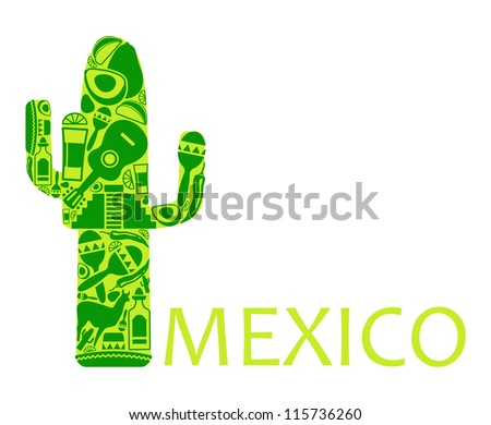 Cactus from national symbols of Mexico - stock vector