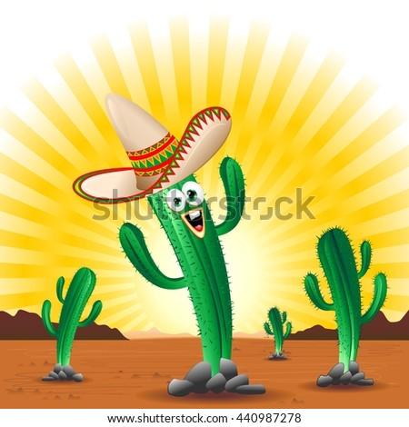 Cactus Happy Cartoon Mexico  - stock vector