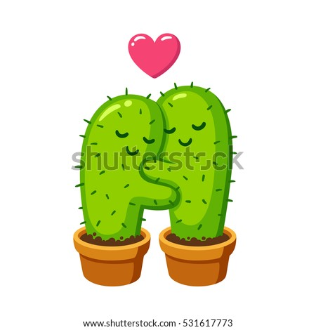 Cactus hug vector drawing cute cartoon cactus couple in love funny valentines day illustration