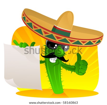 cactus in sombrero shows a scrolls - stock vector