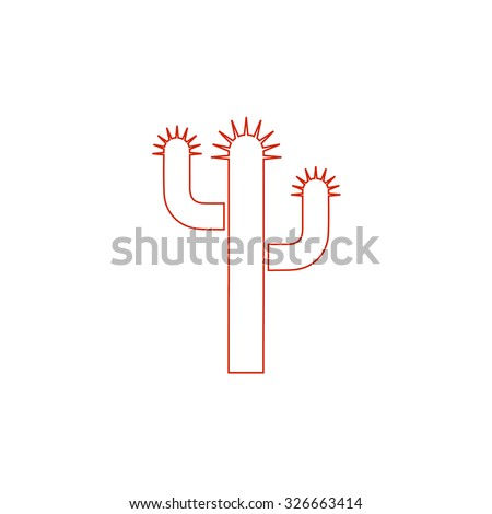 Cactus. Red outline vector pictogram on white background. Flat simple icon - stock vector