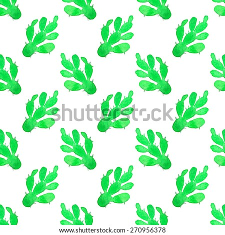 Cactus. Seamless pattern with succulent. Hand-drawn background. Vector illustration. Real watercolor drawing. - stock vector