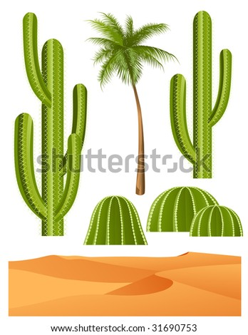 Cactus set, vector illustration, EPS file included - stock vector