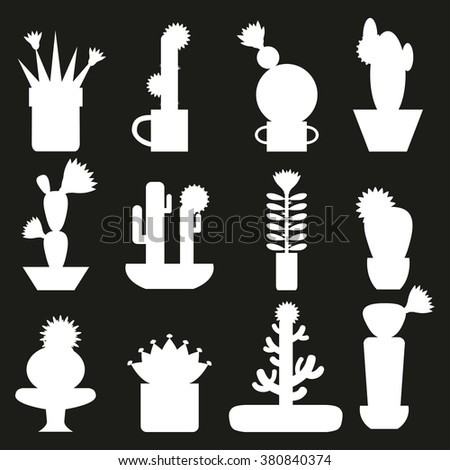 Cactus silhouette set in flat style.Vector collection of Blooming succulents icons.Green plant,desert nature,floral exotic,tropical flower,Home cactus garden,wild botany illustration.Vector simple set - stock vector