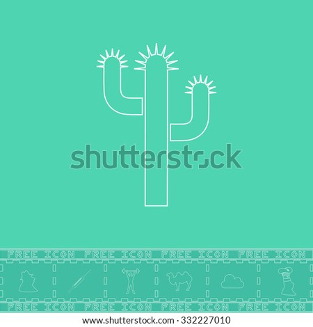 Cactus. White outline flat symbol and bonus icon. Simple vector illustration pictogram on green background - stock vector