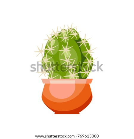 Cactus with spines in an orange flower pot. Isolated Vector Illustration