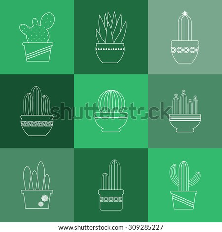 Cactuses and succulents linear icons set. Exotic Mexican plants in pots.