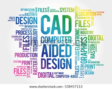 cad computer aided design word cloud stock vector