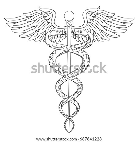 Cadeus Medical medecine pharmacy doctor acient symbol of the science. Vector hand drawn black linear tho snakes with wings sword background. Greek vintage culture hospital element. Tattoo draw design.