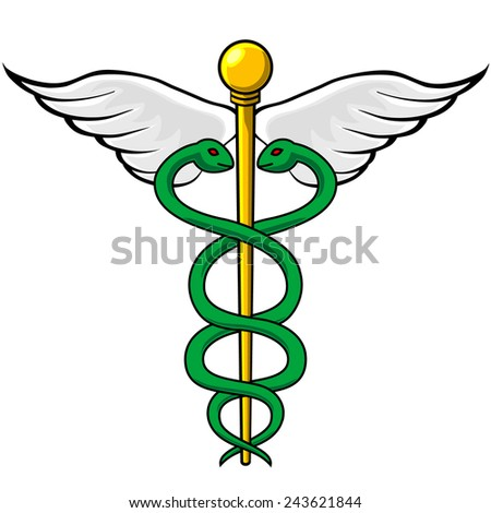 Caduceus emblem with twin snakes intertwined around winged staff