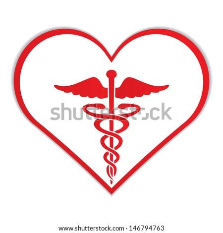 Caduceus Heart Medical Symbol Vector Stock Vector 2018 146794763