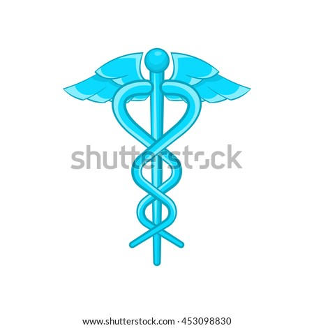 Caduceus medical symbol icon in cartoon style on a white background - stock vector