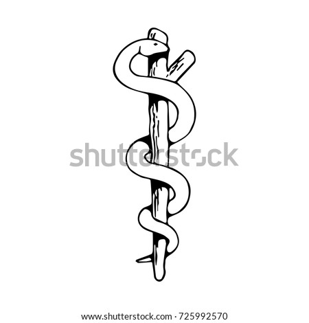 Caduceus Medical Symbol Black White Vector Stock Vector 725992570