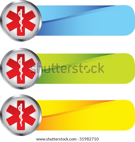 caduceus medical symbol on colored tabs - stock vector