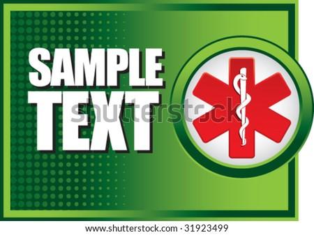 caduceus medical symbol on green halftone banner - stock vector