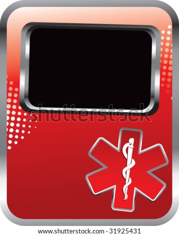 caduceus medical symbol on red template banner - stock vector