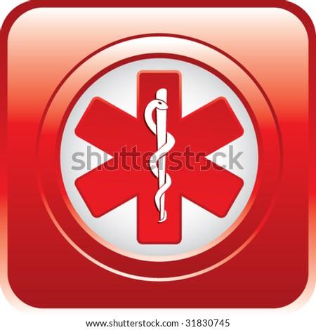 caduceus medical symbol on red web button - stock vector