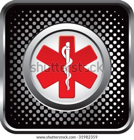 caduceus medical symbol on web button - stock vector