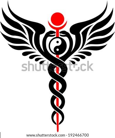 caduceus serpent yin yang stock vector 192466700 shutterstock rh shutterstock com Caduceus Thoth Holding Veterinary Caduceus Symbol