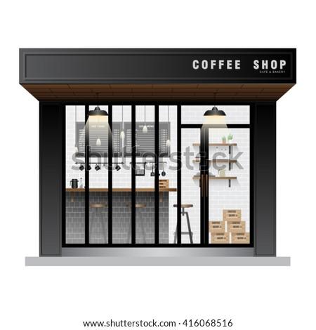 Cafe coffee shop exterior vector stock vector 416068516 for Coffee shop exterior design ideas