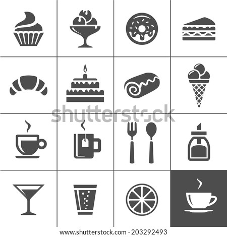 Cafe and confectionery icon set. Sweet baked goods, desserts and coffee. Simplus series vector icons
