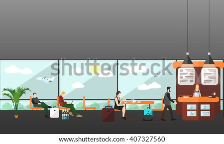 Cafe and waiting lounge room in airport terminal.  - stock vector