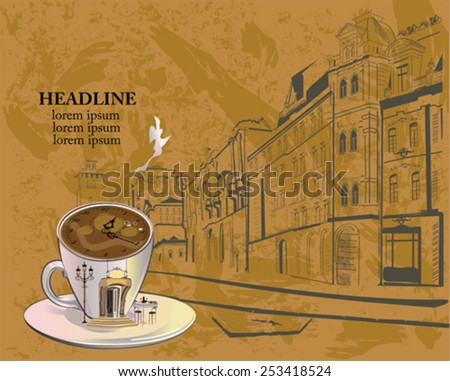 Cafe background decorated with old town views and an abstract cup of coffee with an entrance to the restaurant and clock. - stock vector