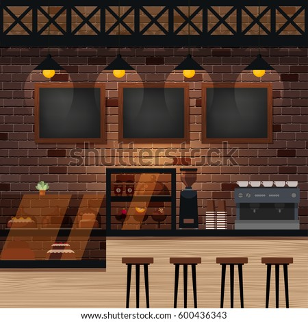 Cafe Bar Coffee Shop Interior Vector Stock Vector 600436343 ...